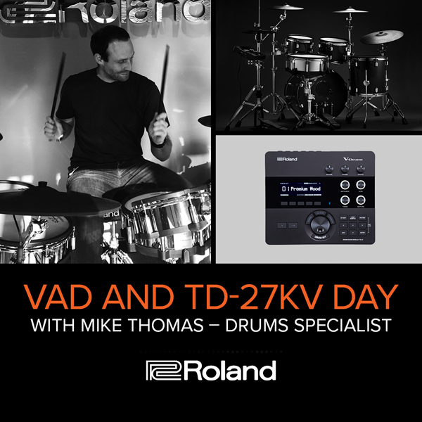 Man playing Roland drumkit
