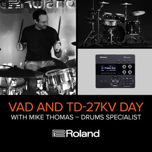 Man playing Roland drumkit