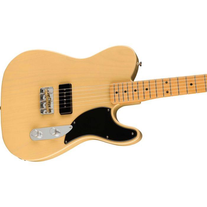 Side view of the Fender Noventa Telecaster Vintage Blonde