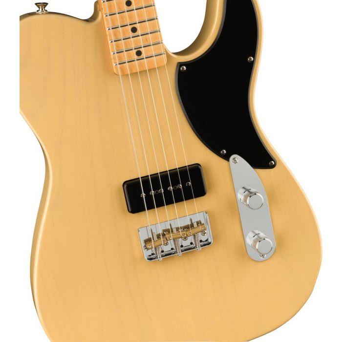 Body close up of the Fender Noventa Telecaster Vintage Blonde