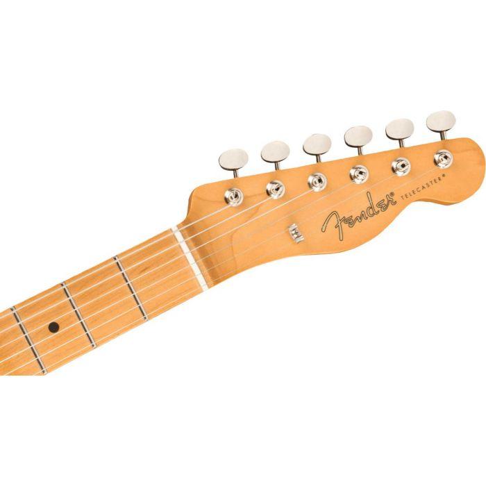 Headstock close upi on the Fender Noventa Telecaster Vintage Blonde