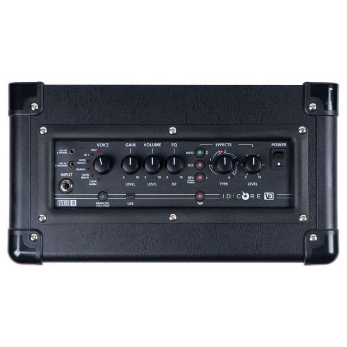 Top-down view of the controls on a Blackstar ID:CORE 10 V3 10w Digital Guitar Combo Amplifier