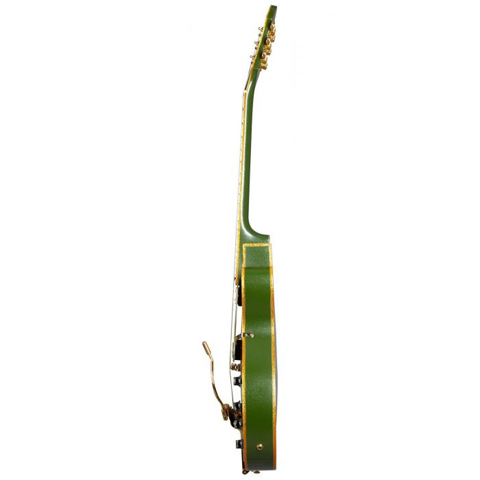 Side view of an Epiphone Original Emperor Swingster, Forest Green Metallic