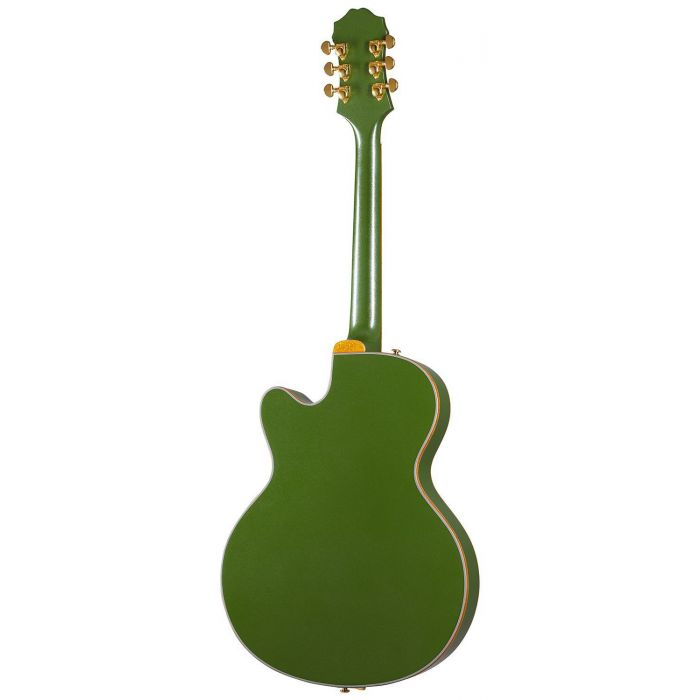 Full rear view of an Epiphone Original Emperor Swingster, Forest Green Metallic