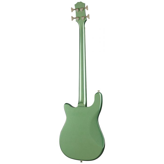 Rear view of an Epiphone Original Embassy Bass Wanderlust Green Metallic