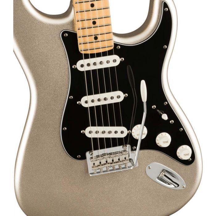 Closeup of the body on a Fender 75th Anniversary Stratocaster MN, Diamond Anniversary