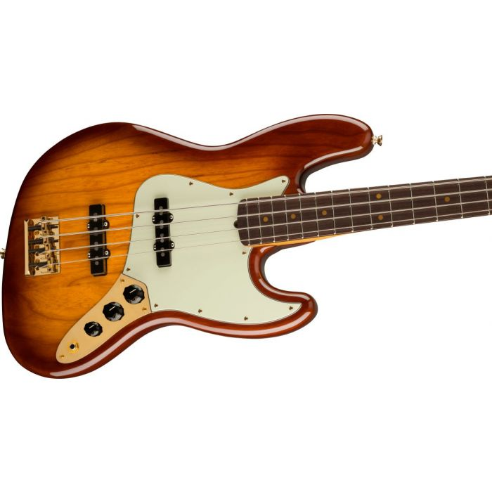 Angled body shot of Fender 75th Anniversary Commemorative Jazz Bass 2-Color Bourbon Burst