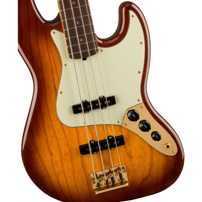 Body close up of the Fender 75th Anniversary Commemorative Jazz Bass 2-Color Bourbon Burst