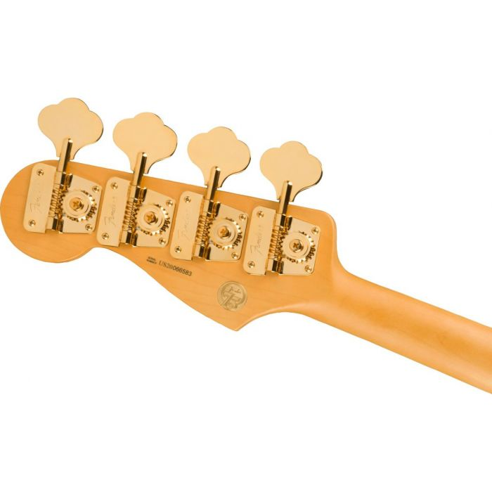 Back of the headstock close up of the Fender 75th Anniversary Commemorative Jazz Bass 2-Color Bourbon Burst
