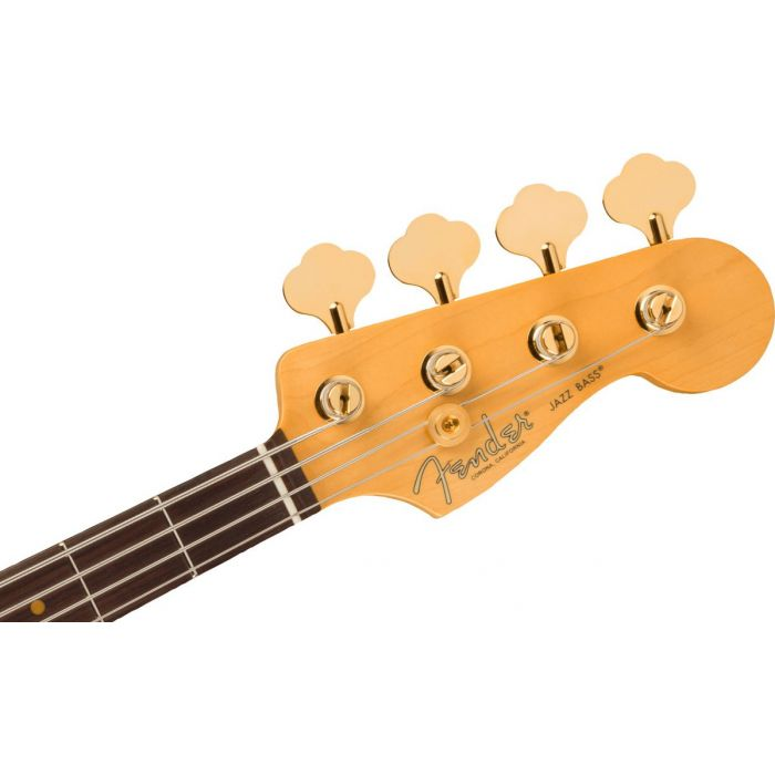 Headstock close up of the Fender 75th Anniversary Commemorative Jazz Bass 2-Color Bourbon Burst