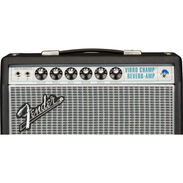 Dial close up on the Fender 68 Custom Vibro Champ Reverb Combo Amp