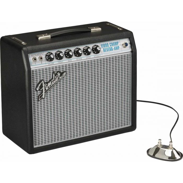 Amp and footswitch overview of the Fender 68 Custom Vibro Champ Reverb Combo Amp