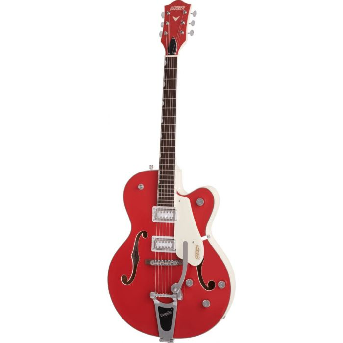 Angled view of the Gretsch Electromatic Ltd G5410T Tri-Five Hollow Body with Bigsby 2 Tone Fiesta Red on Vintage White