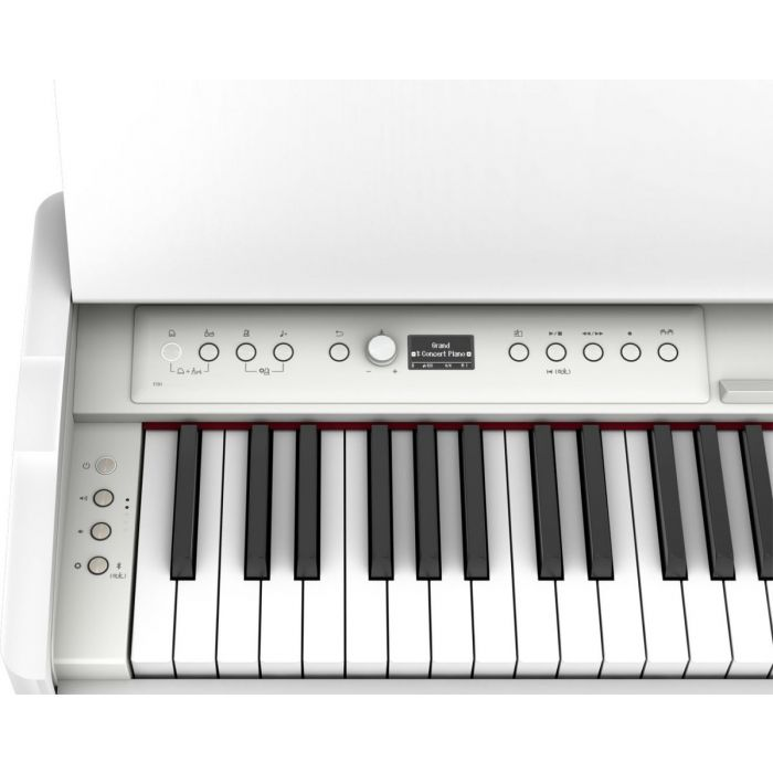Control and keys close up on the Roland F701 Digital Piano White