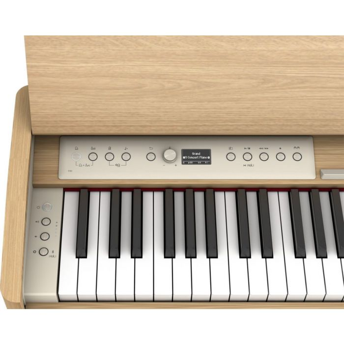 Close up of the controls and keys on the Roland F701 Digital Piano Light Oak