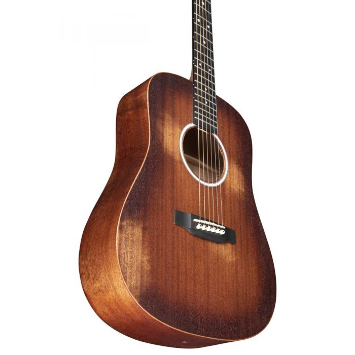 Closeup of the body on a Martin D JR-10E Distressed Streetmaster Electro Acoustic Specs