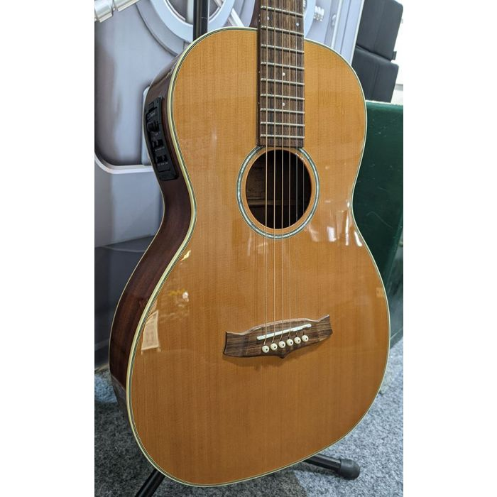 Closeup of the body on a Pre-Loved Tanglewood TW73E Parlour Acoustic
