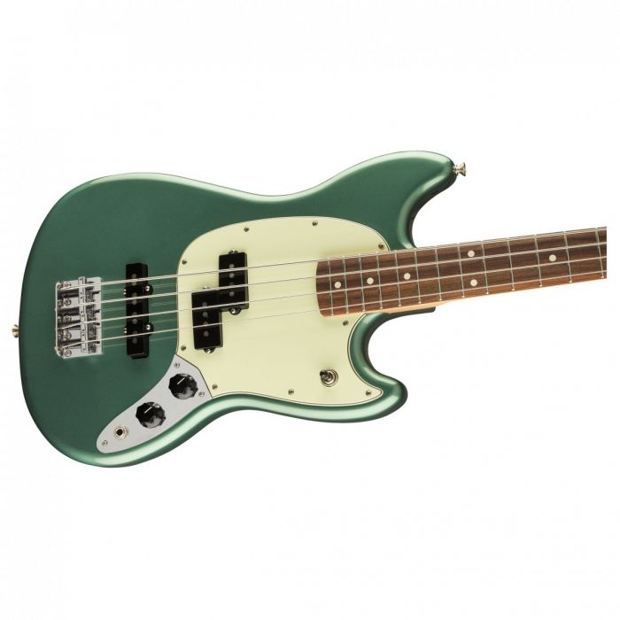 Body close up of the Fender Ltd Edition Player Mustang Bass Sherwood Green Metallic