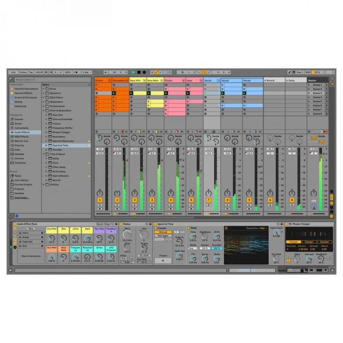 View of the Arrangement window on Ableton Live 11 Suite