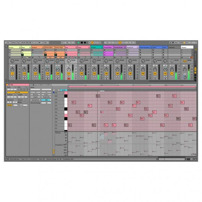 View of the Arrangement window on Ableton Live 11 Standard Education