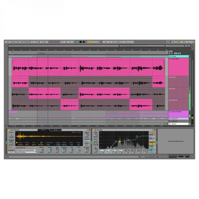 View of the comping feature on Ableton Live 11 Standard Education
