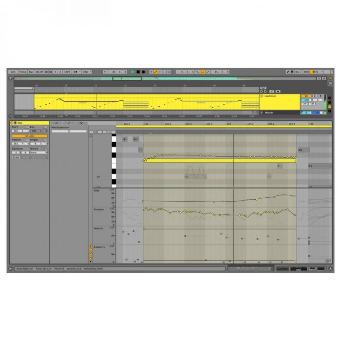View of the MPE feature on the Ableton Live 11 Standard Education