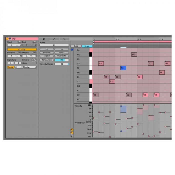 View of the Chance tools on Ableton Live 11 Suite