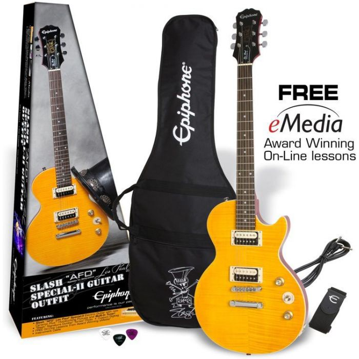 Full view of a Epiphone Slash AFD Les Paul Special-II Guitar Outfit