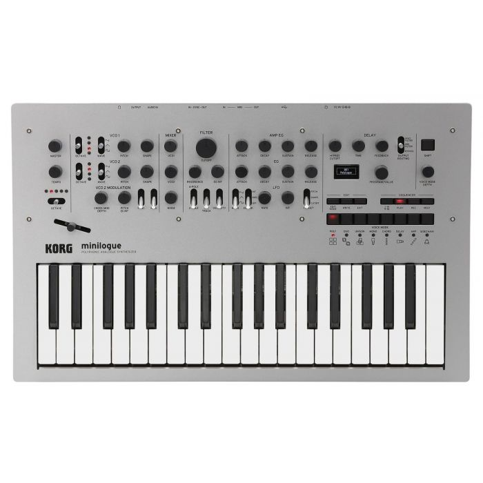 Top down view of a Korg Minilogue Polyphonic Analog Synth