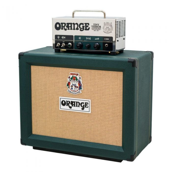 Full front view of an Orange Tiny Terror 10th Anniversary Half Stack