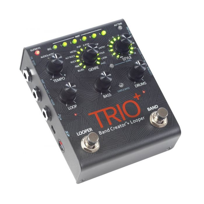 Front angled view of a DigiTech Trio+ Band Creator & Looper Pedal