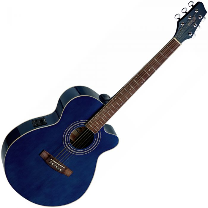 Stagg SA40MJCFI-TB Electro-Acoustic Mini-Jumbo Guitar in Transparent Blue Angle