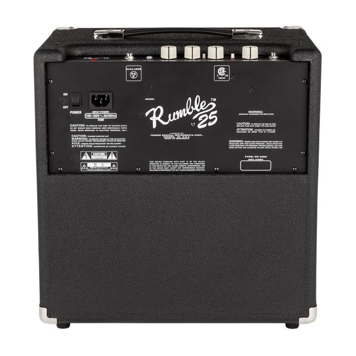 Fender Rumble 25 Bass Amplifier Combo Back connections