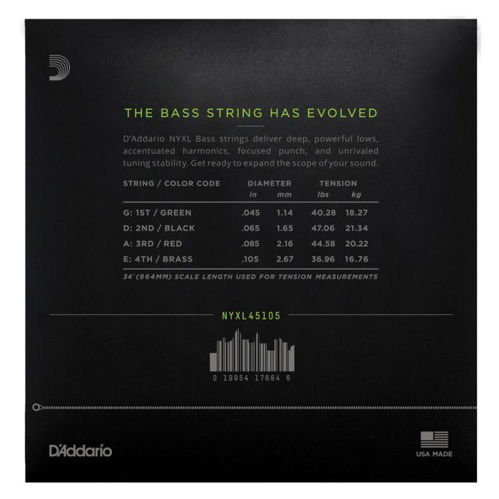 DAddario NYXL45105 Bass Guitar Strings, Light Top Med Bottom, 45-105, Long Scale Rear
