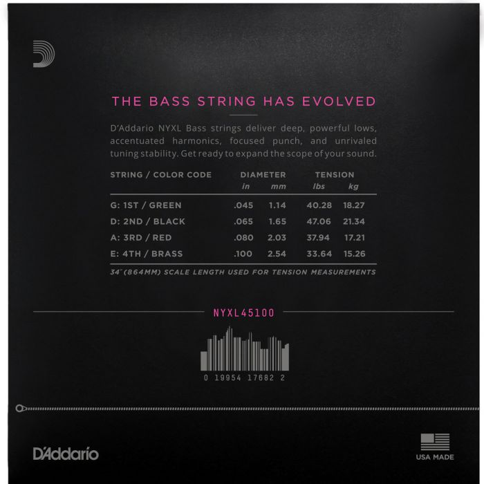Daddario NYXL45100 Bass Strings, Regular Light, 45-100, Long Scale Rear