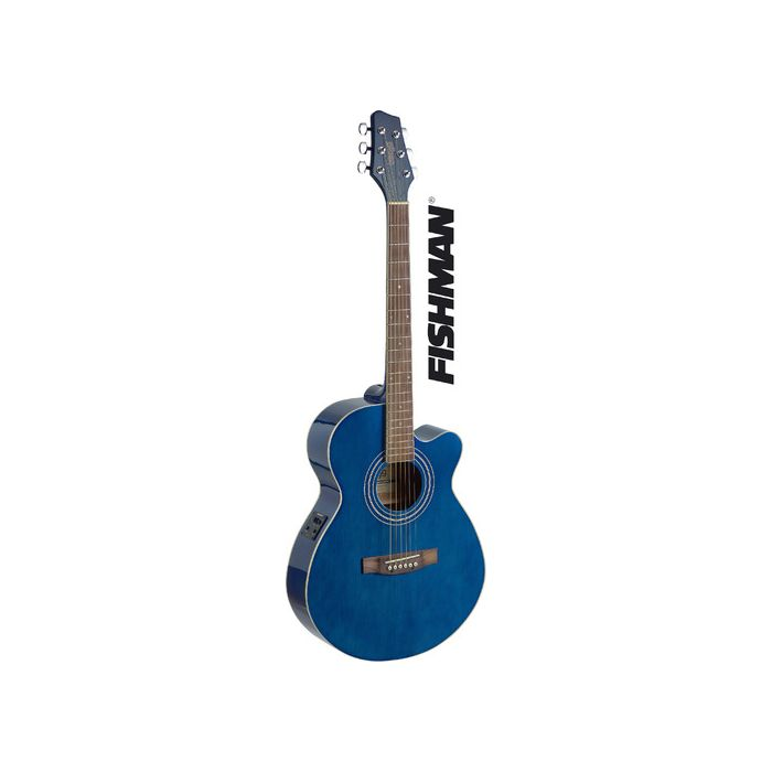 Stagg SA40MJCFI-TB Electro-Acoustic Mini-Jumbo Guitar in Transparent Blue