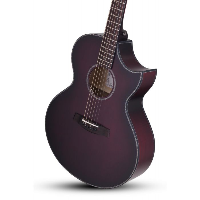 Schecter Orleans Stage Electro-Acoustic in Vampyre Red Burst Satin Body Angle