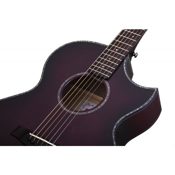 Schecter Orleans Stage Electro-Acoustic in Vampyre Red Burst Satin Sound Hole and Rosette