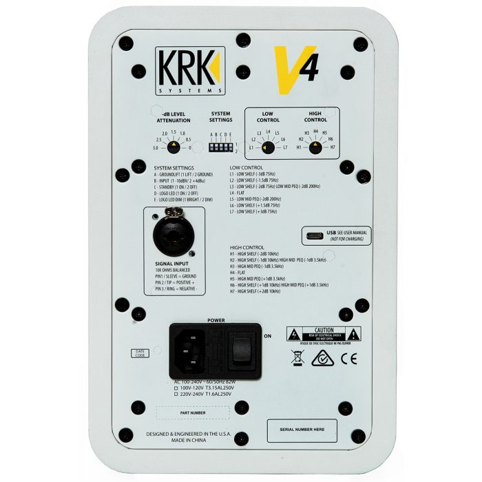 KRK Series 4 V4 Active Studio Monitor White Noise Rear