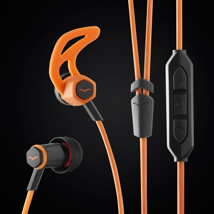 V-MODA Forza In-Ear Sports Headphones - Orange 3-Button Control