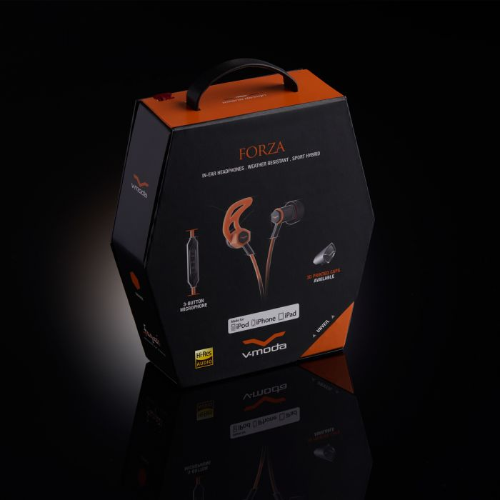 V-MODA Forza In-Ear Sports Headphones - Orange Packaging