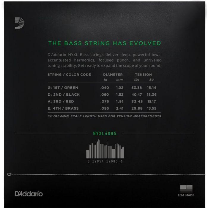 Daddario NYXL4095 Bass Strings 40-95 Rear