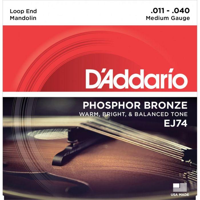 DAddario EJ74 Mandolin Strings, Phosphor Bronze, Medium, 11-40