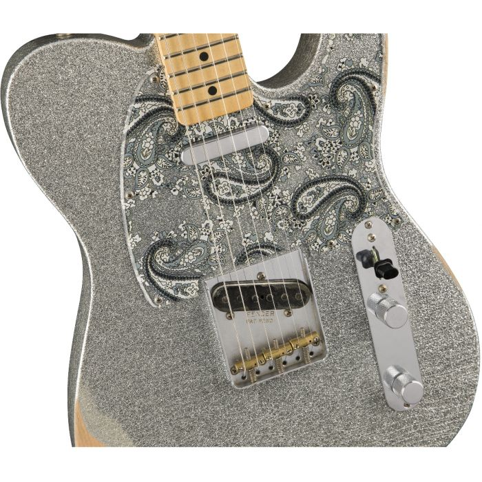Fender Brad Paisley Telecaster MN Road Worn Silver Sparkle Body