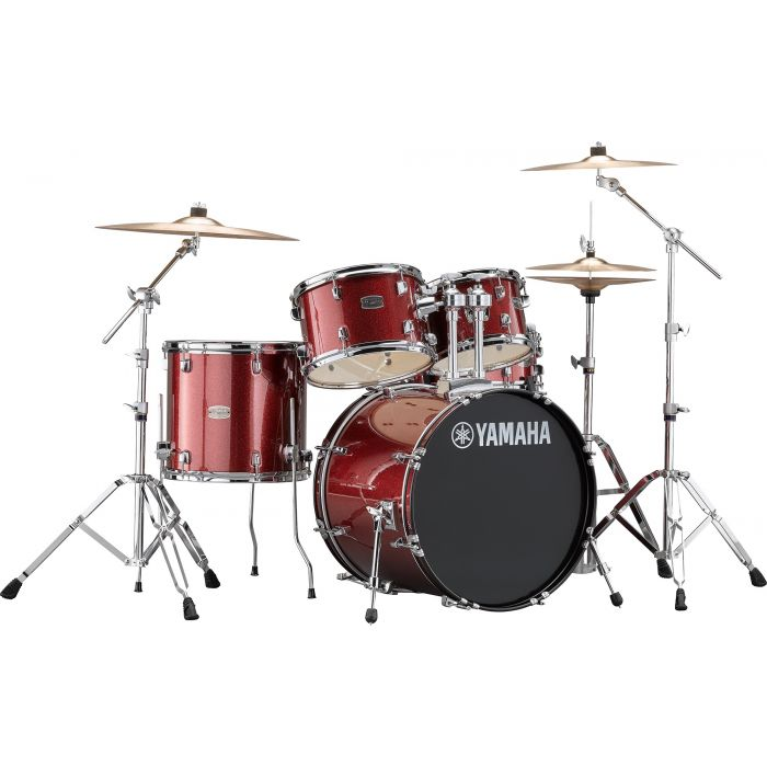 "Yamaha Rydeen 20"" Drum Kit with Hardware and Cymbals in Burgundy Sparkle"