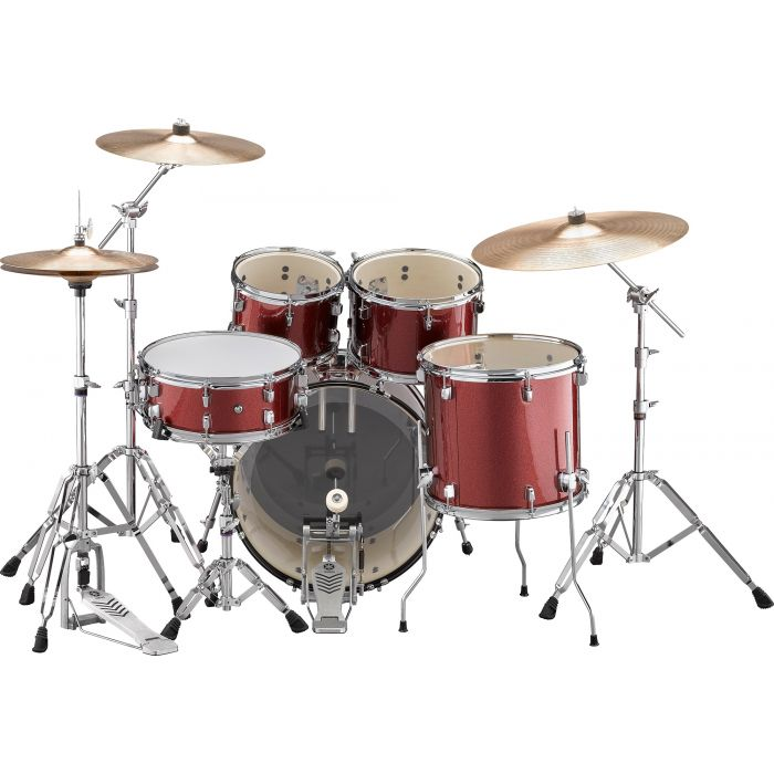 "Yamaha Rydeen 20"" Drum Kit with Hardware and Cymbals in Burgundy Sparkle Back"