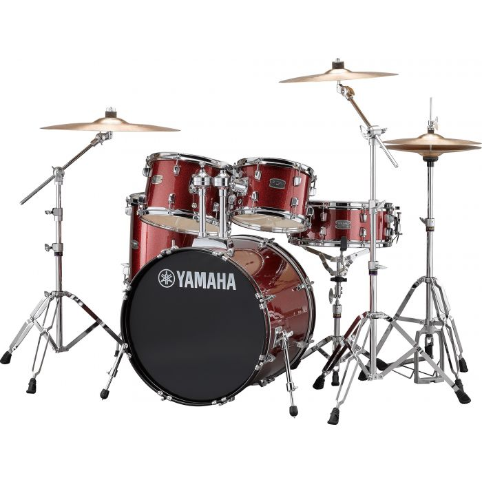 "Yamaha Rydeen 20"" Drum Kit with Hardware and Cymbals in Burgundy Sparkle Angle"