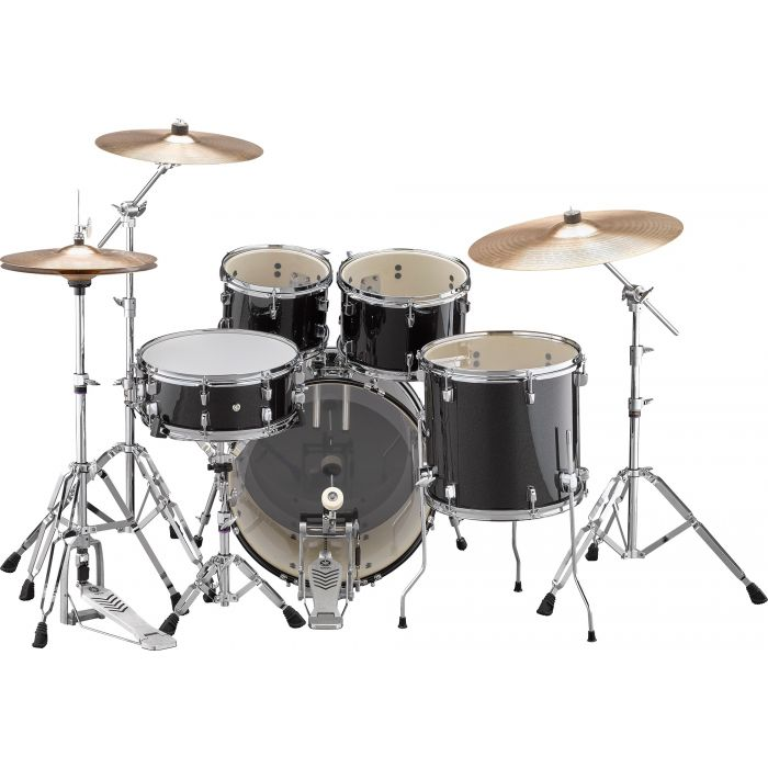 "Yamaha Rydeen 20"" Drum Kit with Hardware and Cymbals in Black Sparkle Back"