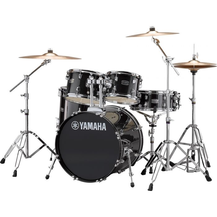 "Yamaha Rydeen 20"" Drum Kit with Hardware and Cymbals in Black Sparkle Angle"
