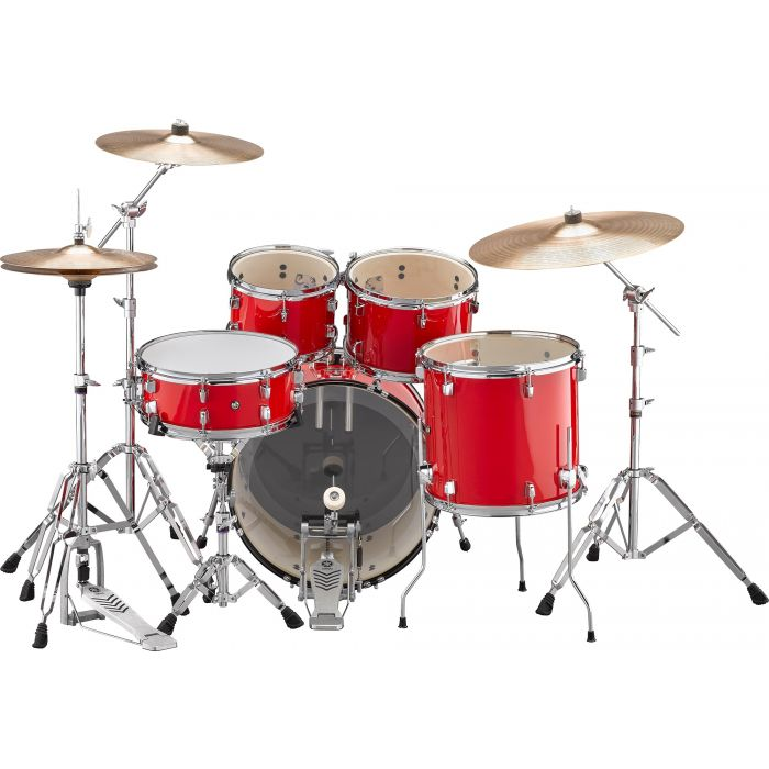 """Yamaha Rydeen 20"""" Drum Kit with Hardware and Cymbals in Hot Red Back"""